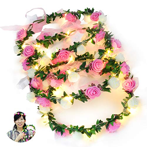 Novelty Place 4 Pack Light Up Flower Headband - LED Floral Head Crown for Wedding, Festival and Party - 4 ()