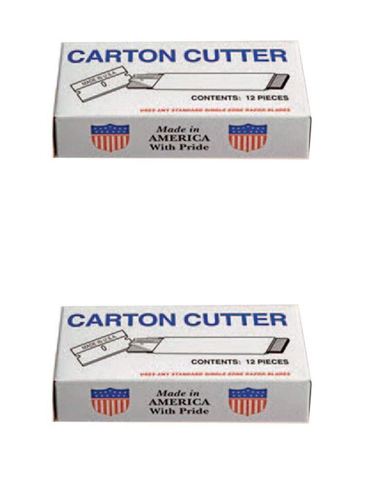 Single Edge Carton Cutter with Single Edge Razor Blade, Box Cutter Knife, Made in USA, Retractable and Replaceable Blade, Tap Open/Tap Close, 2 Pack (12 per Box) by Patriot