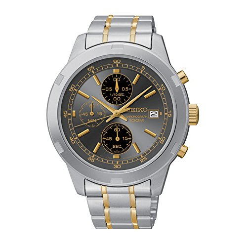 - Seiko Chronograph Silver and Gold-Tone Stainless Steel Men's watch #SKS425