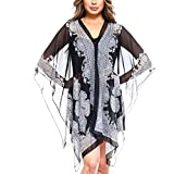 Fashionazzle Women's Summer Beach Wear Cover up Swimwear Beach Dress Top (One Size, CT01-Black1)