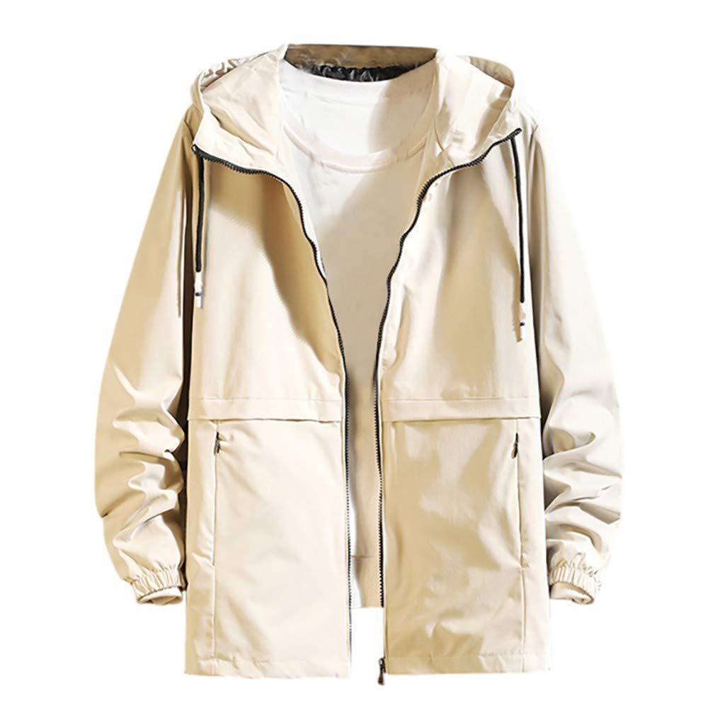 Fitfulvan Mens Wind & Water-Resistant Casual Hoodie Rain Jacket Outdoor Sport Coat Khaki
