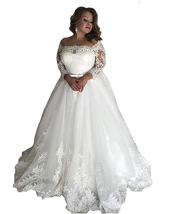 Tsbridal Women Lace Off Shoulder Wedding Dresses Beach Long ...