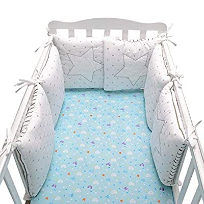 Baby Infant Crib Bumper Pads Bed Cotton Safety Rail Guard Breathable, Cradle Protector, Cot Sleep Bumper Pillow, Machine Washable, Embroidery, 6pcs Set