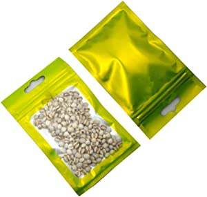 100Pcs Mylar Bags for Zip Flat Foil Lock Food Storage Bag Clear Plastic Window Heat Seal Smell Proof Zipper Lock Coffee Beans Packaging Pouch with Euro Hang Hole (7.5x12cm (3x4.7 inch), Matte Green)