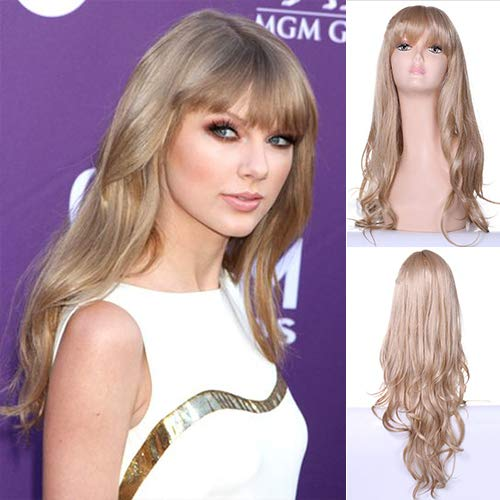 IVY HAIR Taylor Swift Style Long Natural Wavy Hair Wigs with Bangs Synthetic Wig Blond Cosplay Daily Party Wig for Women Natural As Real Hair+ Free Wig Cap ()