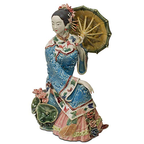ChinaFurnitureOnline Chinese Porcelain Doll, Sitting Qing Maiden with Umbrella Blue and Pink ()