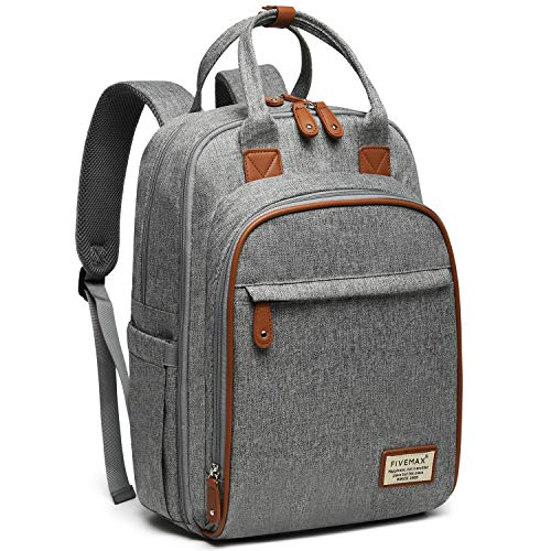 Diaper Bag Backpack, FIVEMAX Multifunction Travel Back Pack Maternity Baby Nappy Changing Bags, Large Capacity Waterproof & Dustproof, Gray