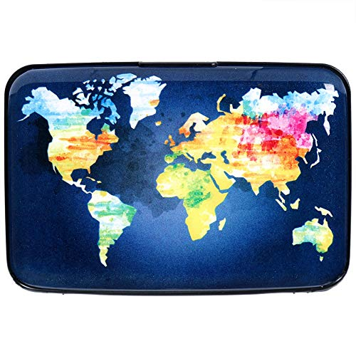 (Aluminum Wallet RFID Blocking Slim Metal Credit Card Holder Hard Case (Hand Drawn Watercolor World Map))