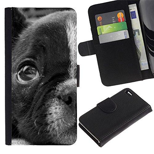 LASTONE PHONE CASE / Luxe Cuir Portefeuille Housse Fente pour Carte Coque Flip Étui de Protection pour Apple Iphone 4 / 4S / Boston Terrier Puppy Eyes Cute