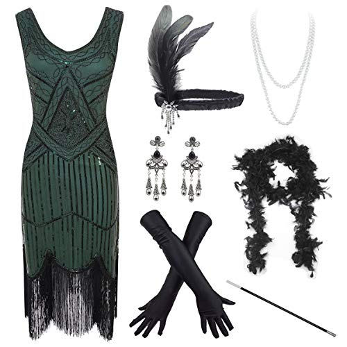Women's Vintage 1920s Sequin Beaded Tassels Hem Flapper Dress w/Accessories Set (Medium, Green)]()