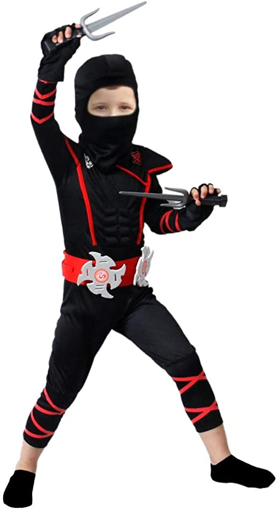 Brwoynn Halloween Ninja Deluxe Costume for Kids with Ninja Foam Accessories Toys