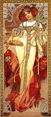 Woman with Fruit Basket Red Hair with a Flower Head Band By Alphonse Mucha 9