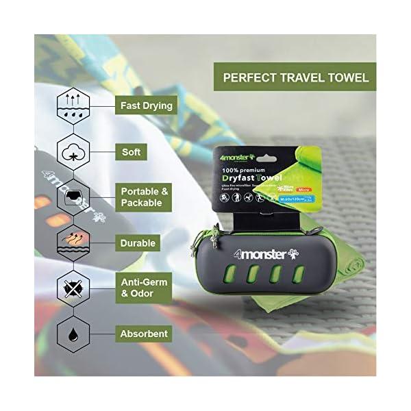 5151m5Lc4GL 4Monster Mikrofaser Handtücher in 5 Farben, Saugfähiges Sporthandtuch Ultra Leicht, Schnelltrocknendes Reisehandtuch für…