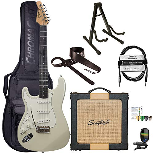 Sawtooth Classic ES60 Left Handed Ash White Guitar Players Pack