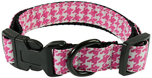 (Evans Collars Adjustable Collar with Material, Medium, Houndstooth, Pink)
