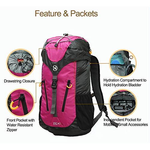 NULF 35L+5L Hiking Backpack Daypack Camping Real Nylon