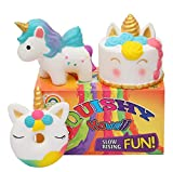 AOLIGE 3 PCs Squishies Slow Rising Jumbo Kawaii Cute Unicorn / Donut / Pink Unicorn Cake Creamy Scent Kids Party Toys Stress Reliever Toy