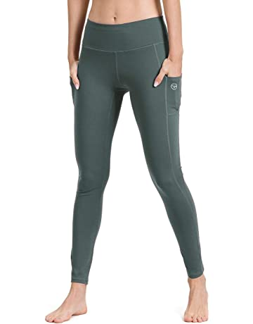 62990e09905e Gym Leggings with Pocket, ALONG FIT Yoga Pants Mesh - Non See-through High