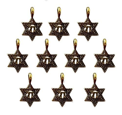 DIY Lot of 10 chai Star of David Pendant Amulet Charm Jewish Judaica Jewelry