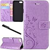 """iPhone 7 / iPhone 8 Case, Urvoix Card Holder Stand Smooth Hand Feel PU Leather Wallet Case - Embossed Flower Butterfly Flip Cover for 4.7"""" Version iPhone7 / iPhone8(NOT for 7Plus / 8 Plus) Lilac"""
