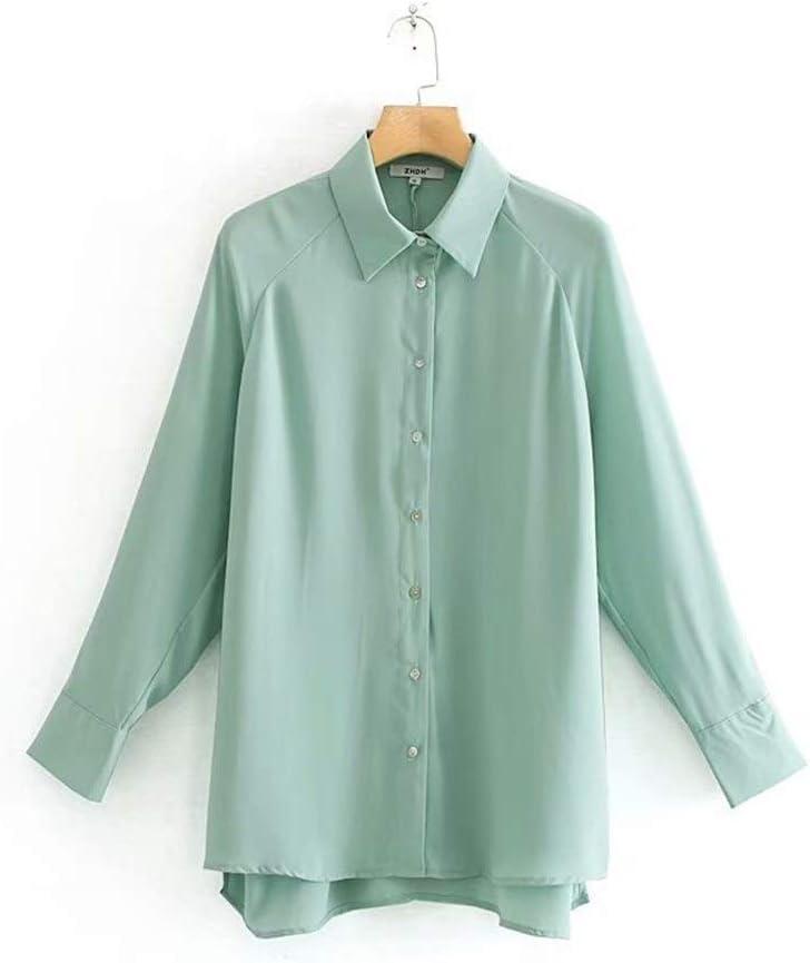 LANGPIAOEZU Hombro de Las Mujeres Camisa Verde Llanura Camisa ...