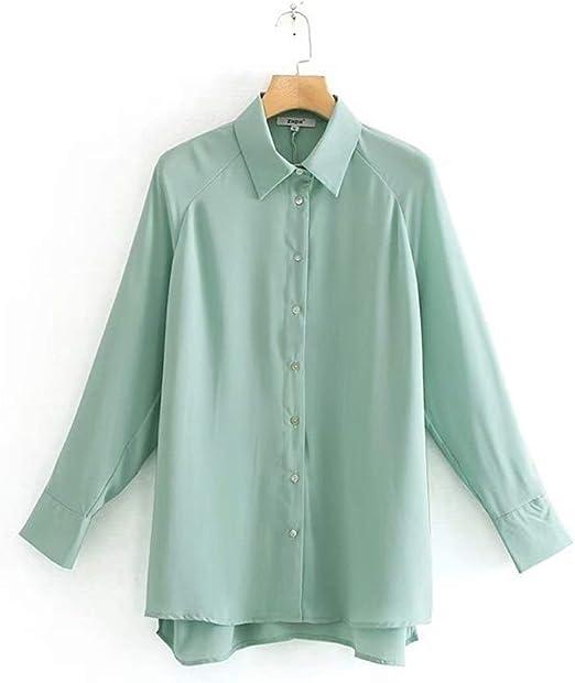 LANGPIAOEZU Hombro de Las Mujeres Camisa Verde Llanura Camisa Suelta Ajuste Flowy (Color : Green, Size : M): Amazon.es: Hogar