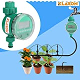Klaxon Drip Irrigation Water Timer for Home Garden - Automatic Watering Timer - Plastic Garden Water Pipe Controller - Green