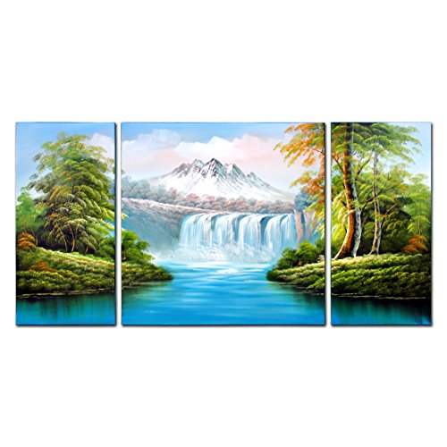 VASTING ART 3-Panel 100% Hand-Painted Oil Paintings Landscape Waterfall Snow Mountain Forest Modern Abstract Canvas Stretched Framed Ready Hang Natural Artwork Home Decoration Wall Decor Blue Green