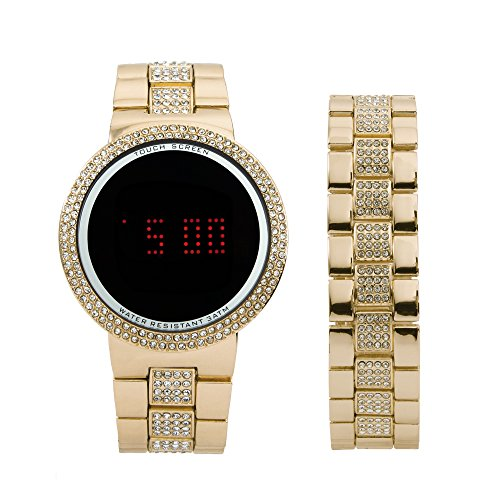 Iced Out Bling Gold Metal Touch Screen Watch with Matching Iced Out Gold Bracelet - 8166 Gold