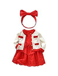 QJH Baby Girls 3pcs Skirt Set Red Princess Dress/Headband