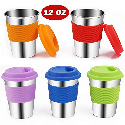 Kids Stainless Steel Cups with Lids,Jree Ash 5 Pack 12 OZ Stainless Steel Tumblers with Silicone Lids and Sleeves,Unbreakable Metal Kids Cups,Metal Toddler Cups with Lids for Kids and Adults (5 color)