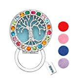 SENFAI Tree Colorful Crystal Magnet Eyeglass Holder Brooch and Pin(Perfume cotton or Luminous film) (tree-x)
