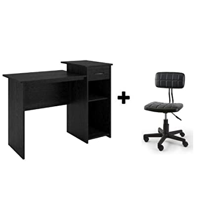 Mainstays Student Desk, Multiple Finishes (Black Ebony With Faux Leather  Chair