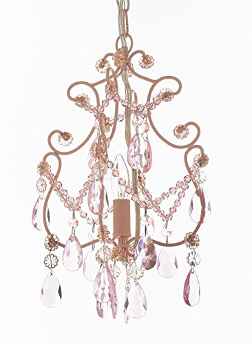 Wrought Iron and Crystal 1 Light Chandelier Pendant Pink Lighting Ceiling Lamp Hardwire and Plug In Perfect for Kid's Girl's Room Review