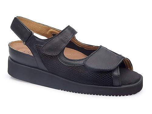 ... Piel Color Negro Combi Malla Elastica, Cierre Velcro, Plantilla Extraible, Poco Peso y Especial juanetes - 0670-34: Amazon.es: Zapatos y complementos