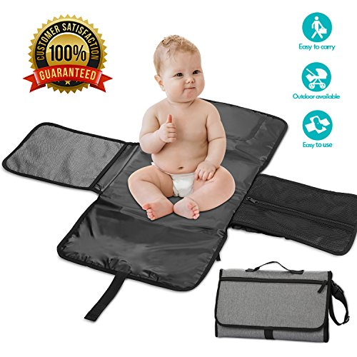 Diaper Changing Pad Waterproof Portable Baby Changing Kit with Soft Built-in Cushion 3 Pockets Perfect Newborn Baby Infant Gift