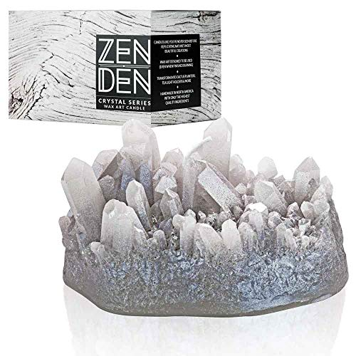 Zen Den Crystal Series - Aura Quartz Shaped- Unscented Wax Candle - Handcrafted for Home Décor & Positive Energy (Smokey Quartz / Grey)
