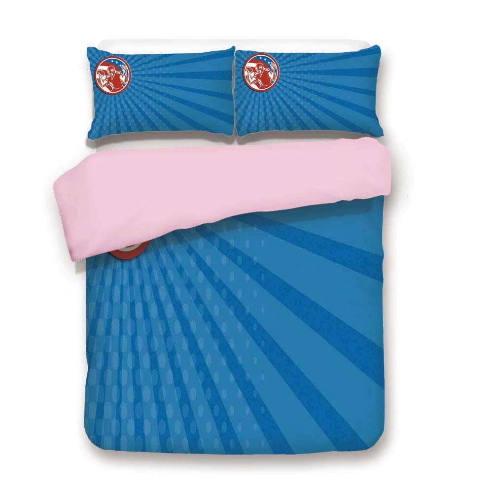 Pink Duvet Cover Set,FULL Size,Pop Art Gridiron Illustration with Old Fashioned Visual Properties Throwing Man Print,Decorative 3 Piece Bedding Set with 2 Pillow Sham,Best Gift For Girls Women,Blue Re