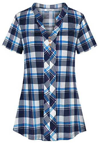 - Helloacc Chiffon Tops for Women,Collarless Short Sleeve Grid Tunics Pleat Shirts 80s Long Dress Blouses for Teen Girls Elegant Ladies Loose Fancy Petite Botton Stretchy Fall Fashion Slim Breezy Blue M