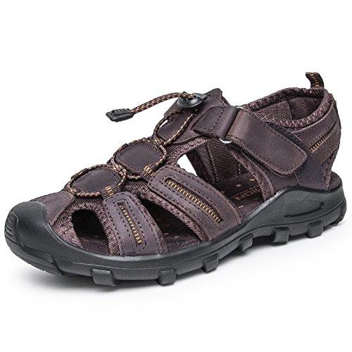 Xing Lin Sandalias De Hombre Cuero Verano Hombre De Calzado De Playa De Moda Casual Hombres Transpirable Sandalias Tendencia Exterior Fondo Blando De Hombres Zapatillas Dark brown