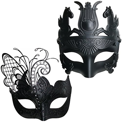 3ce8f41a6f24 Black Butterfly Women Mask & Silver Roman Warrior Men Mask Venetian Couple  Masks For Masquerade/Party/Ball Prom/Mardi Gras/Wedding/Wall  Decoration(elastic ...