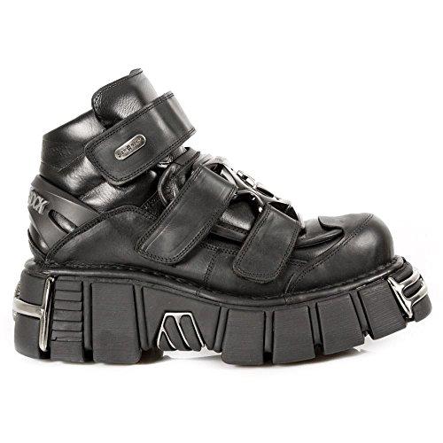 Bottes New Rock M.285-S1 chaussures motard gothique cheville cuir métallique unisexe