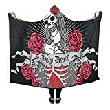 InterestPrint Happy More Custom Holy Death Day Of The Dead Wearable Durable Cape Hooded Blanket