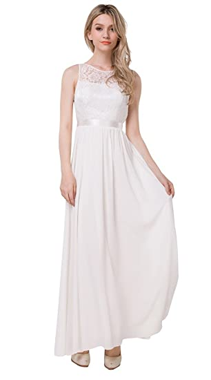 Vimans Long Ivory Lace Backless Casual Bridesmaid Dresses