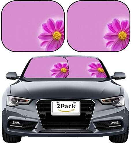 MSD Car Sun Shade Windshield Sunshade Universal Fit 2 Pack, Block Sun Glare, UV and Heat, Protect Car Interior, Image ID: 30654261 Purple Violet Flower as a Holiday Postcard Design