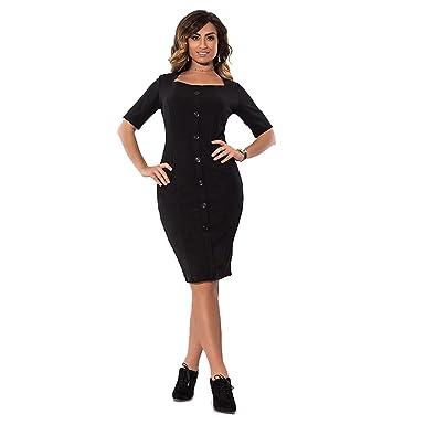 9ee87d9e2e75 DD.UP Women s Button Slim Short Sleeves Long Skirt Plus Size Bodycon ...