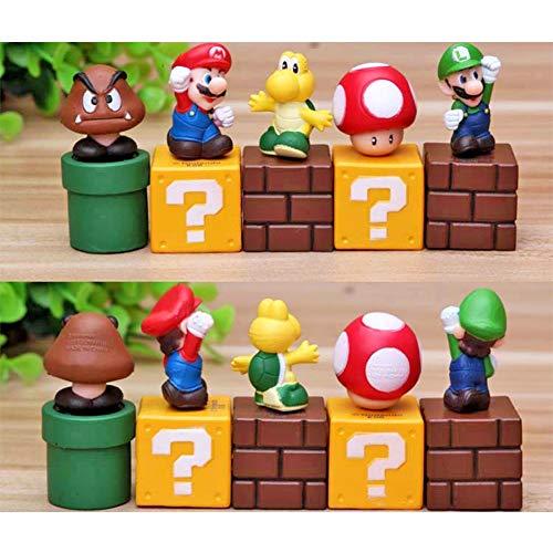 DeQian Super Mario Brothers Birthay Cake Topper, Super Mario Bros Action Figures - Mini Super Mario Bros Figures Mario, Luigi, Mushroom, Goomba, Koopa Troop 2