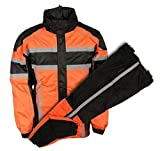 MEN'S RIDING MOTORCYCLE 100% NYLON RAIN SUIT GEAR BLACK/ ORANGE W/ (4XL Regular)