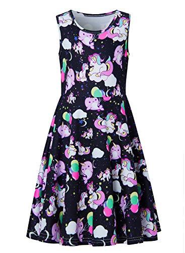 UNIFACO Best Dresses for Little Girl Black Galaxy Stars Balloon Sundresses Sleeveless Crewneck Party Swing Dress for Kid Girl Dress Up -