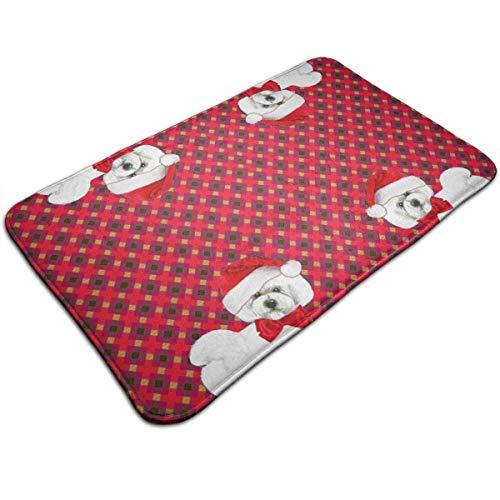 (NfuquyamDoormat Bichon Frise Christmas Waterproof Welcome Doormat Funny Durable Machine Indoor and Outdoor Door Mat 19.2x31.5 Inch)